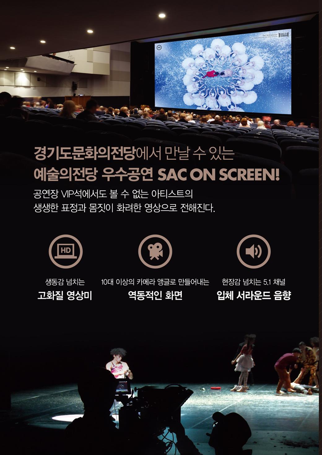 경기도문화의전당에서 만날 수 있는 예술의전당 우수공연 SAC ON SCREEN! 공연장 VIP석에세도 볼 수 없는 아티스트의 생생한 표정과 몸짓이 화려한 영상으로 전해진다.